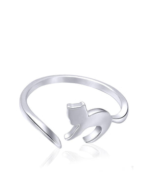 Whimsical Kitten Adjustable Ring in Sterling Silver