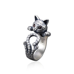 Vintage Cat Sterling Silver adjustable Ring with Cubic Zirconia
