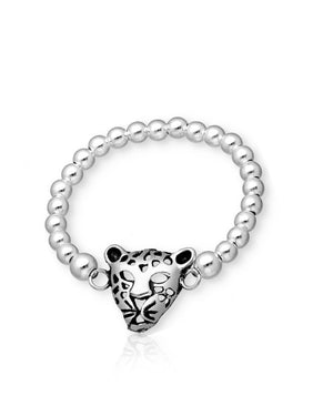 Leopard Face Stretch Ring in Sterling Silver
