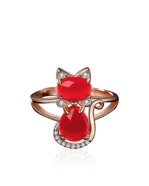 Red Agate & Cubic Zirconia adjustable Cat Ring plated with Rose Gold over Sterling Silver