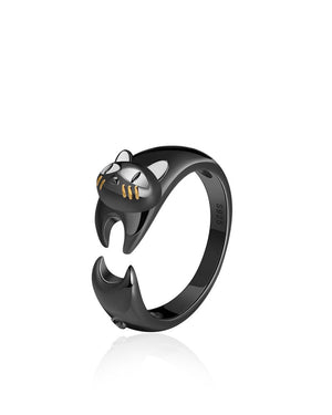 Jet Black Cat Adjustable Ring with Enamels & Sterling Silver