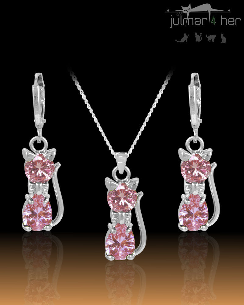 Lily Cat shaped Pink Crystal & Sterling Silver Jewellery Set