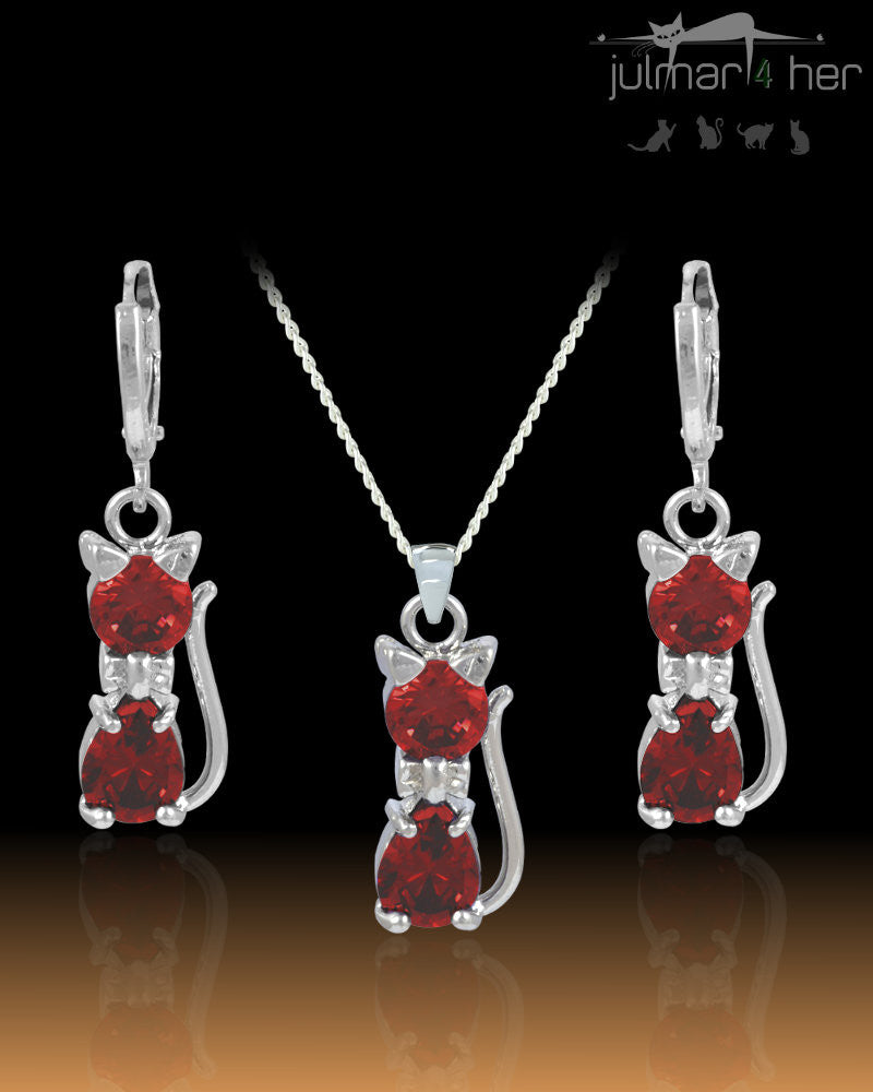Lily Cat shaped Red Crystal & Sterling Silver Jewellery Set