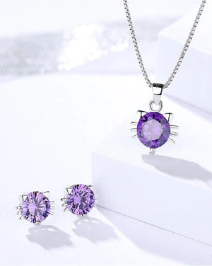 Mauve Crystal & Cubic Zirconia Sterling Silver Jewellery Set