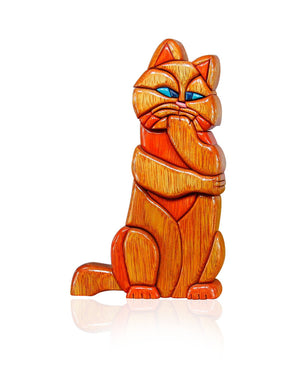 Deep in Thought Cat Wood Statuette