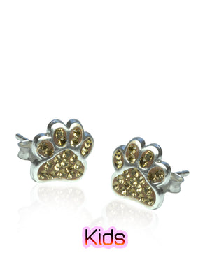 Shimmering Paws Stud Earrings with Swarovski Crystals in Sterling Silver