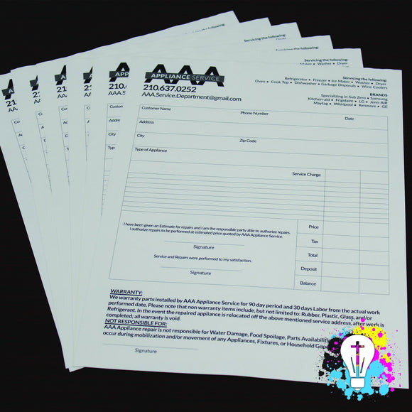 Black Ink NCR Forms | Carbonless forms - Minuteman Press formely La Luz Printing Company | San Antonio TX Printing-San-Antonio-TX
