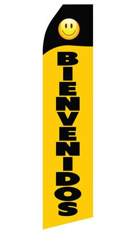 Black Yellow Bienvenidos Feather Flag | Stock Design - Minuteman Press formely La Luz Printing Company | San Antonio TX Printing-San-Antonio-TX