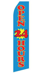 Blue Open 24 Hours Feather Flag | Stock Design - Minuteman Press formely La Luz Printing Company | San Antonio TX Printing-San-Antonio-TX