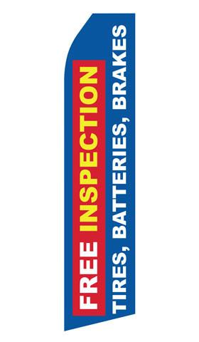 Free Inspection for Tires Brakes Batteries Feather Flag | Stock Design - Minuteman Press formely La Luz Printing Company | San Antonio TX Printing-San-Antonio-TX