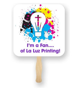 Full Color Square Shape Hand Fans - Minuteman Press formely La Luz Printing Company | San Antonio TX Printing-San-Antonio-TX