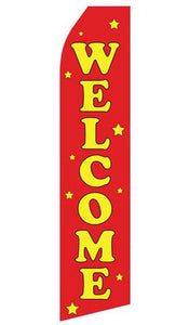 Red Welcome Feather Flag | Stock Design - Minuteman Press formely La Luz Printing Company | San Antonio TX Printing-San-Antonio-TX