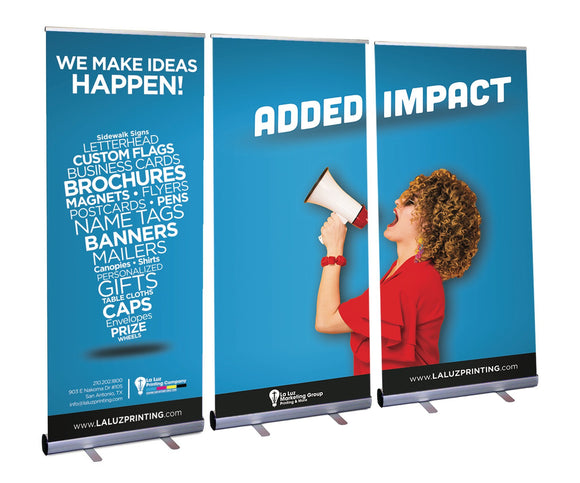 Retractable Roll Up Banner Stand Wall - Minuteman Press formely La Luz Printing Company | San Antonio TX Printing-San-Antonio-TX