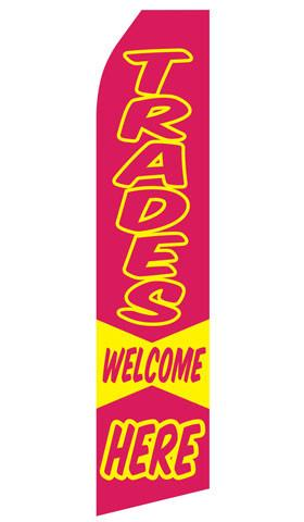 Trades Welcome Here Feather Flag | Stock Design - Minuteman Press formely La Luz Printing Company | San Antonio TX Printing-San-Antonio-TX