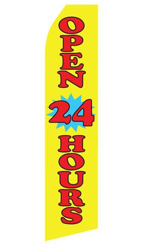 Yellow Open 24 Hours Feather Flag | Stock Design - Minuteman Press formely La Luz Printing Company | San Antonio TX Printing-San-Antonio-TX