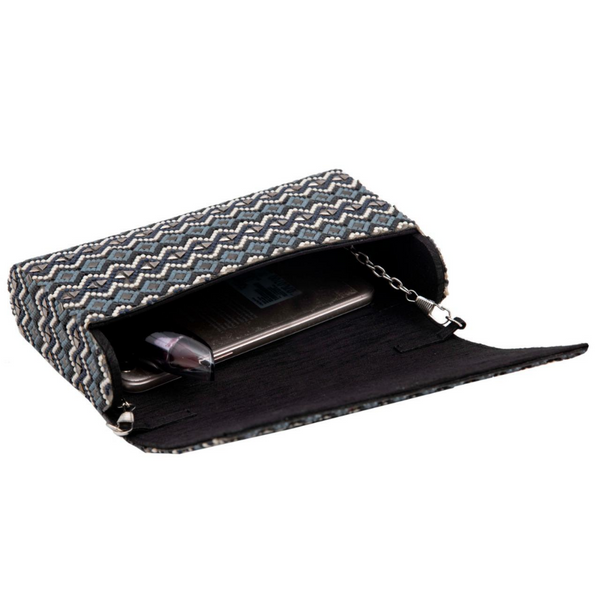 Grey Embellish Hand Aztec Clutch
