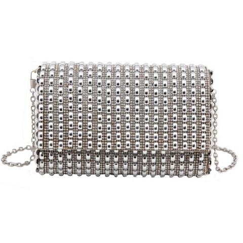 Silver Party Edit Clutch
