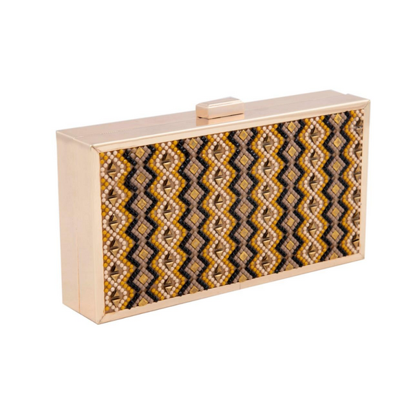 Yellow Gold Rectangular Aztec Clutch