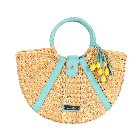 Aqua Basket Hand Bag