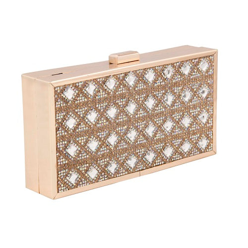 Crystal Embellish Rectangle Clutch - Niche