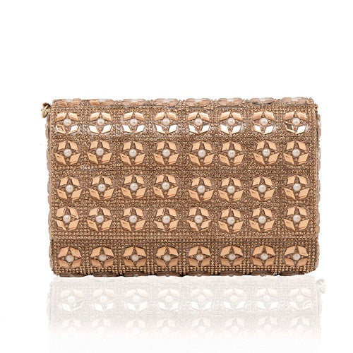Copper Flower Motif Clutch - Niche