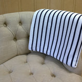 White and Navy Stripe Throw