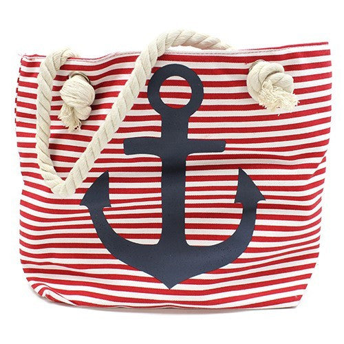 Anchor Beach Bag Red Stripe with Navy Anchor