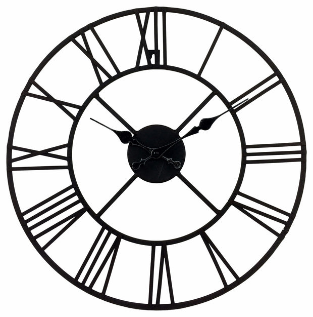 Large Metal Open Face  Clock with Roman Numerals