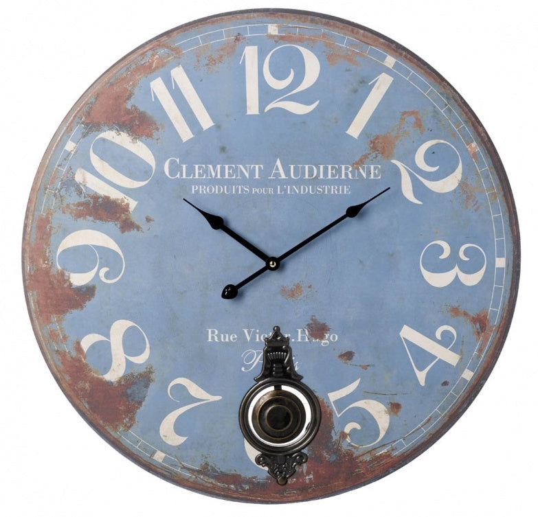 Wooden Blue Rustic Pendulum Wall Clock