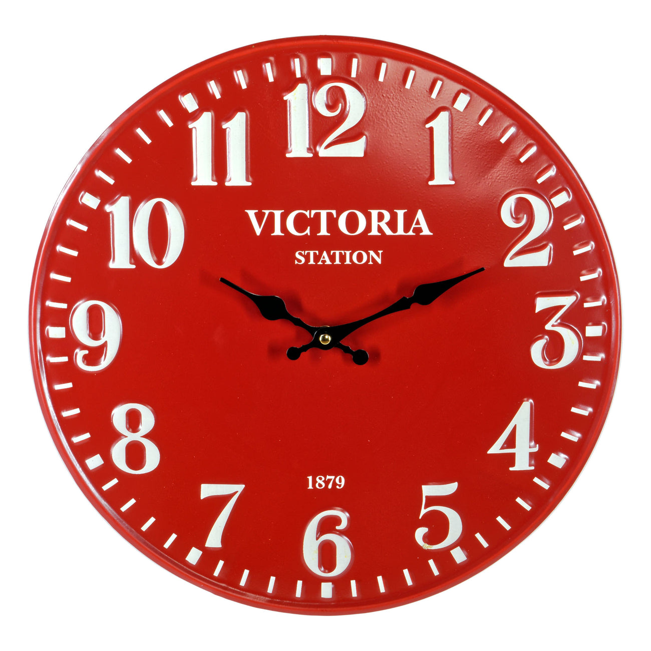 Red Metal Station Wall Clock