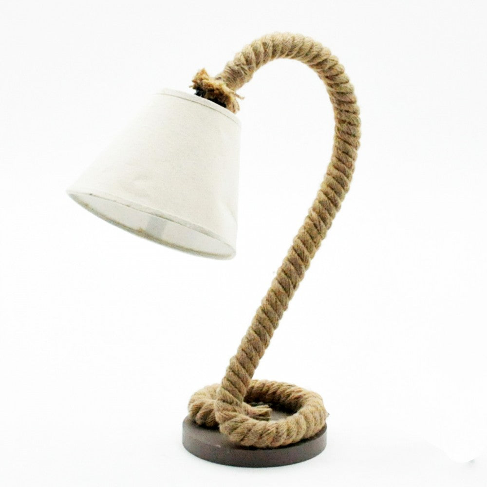Curved Rope Table Lamp And Shade - Seashore No4