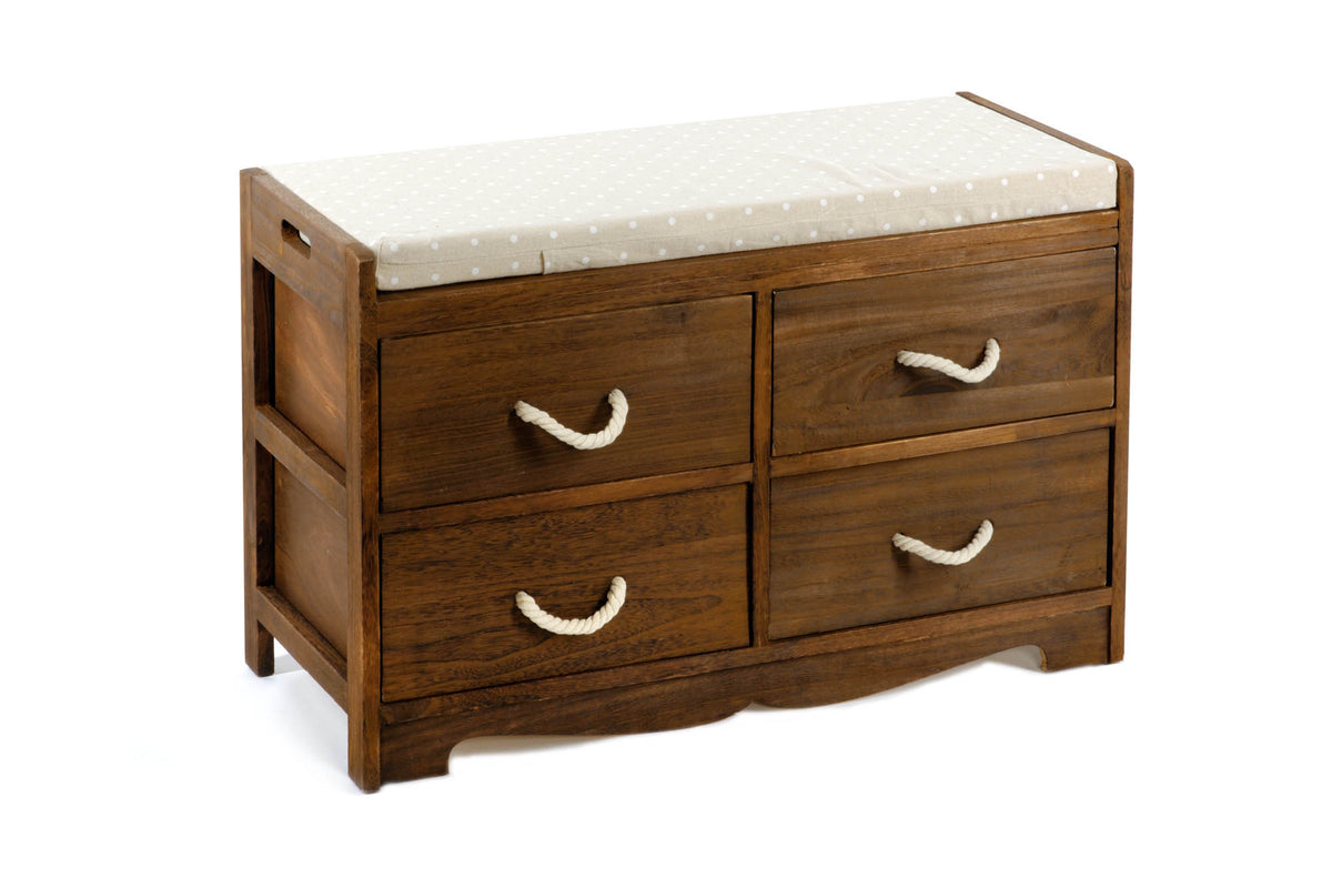 Revesby Wooden Storage Bench with Polka Dot Cushion & Four Drawers - Seashore No4