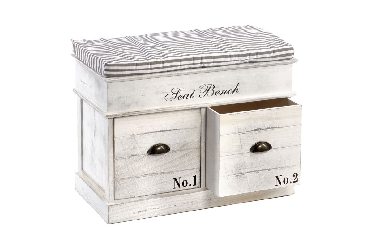 White Wood Storage Bench with Two Drawers - Seashore No4