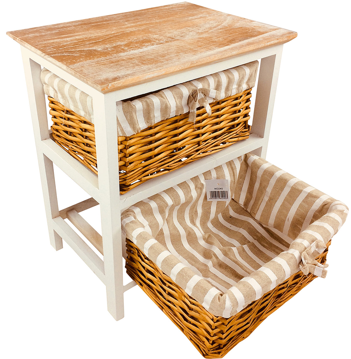 Wooden Storage Cabinet With Lined Baskets - Seashore No4