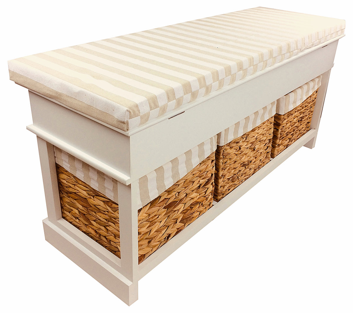 Wooden Storage Bench with 3 Baskets & Cushion - Seashore No4
