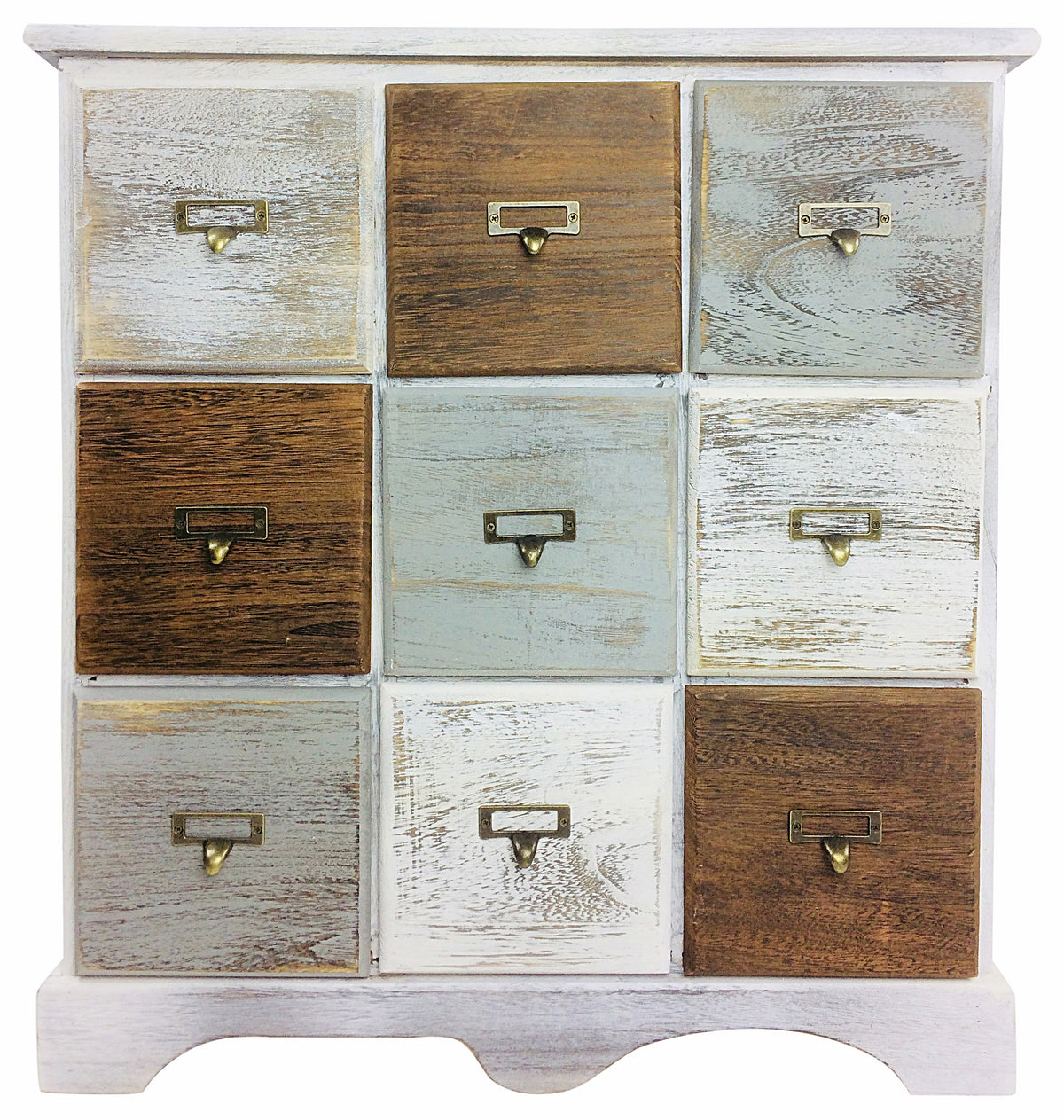 Rustic Wooden Cabinet with 9 Drawers