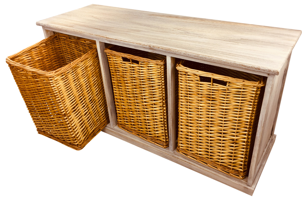 Fantastic Wooden Storage Bench With 3 Large Baskets Onthecornerstone Fun Painted Chair Ideas Images Onthecornerstoneorg