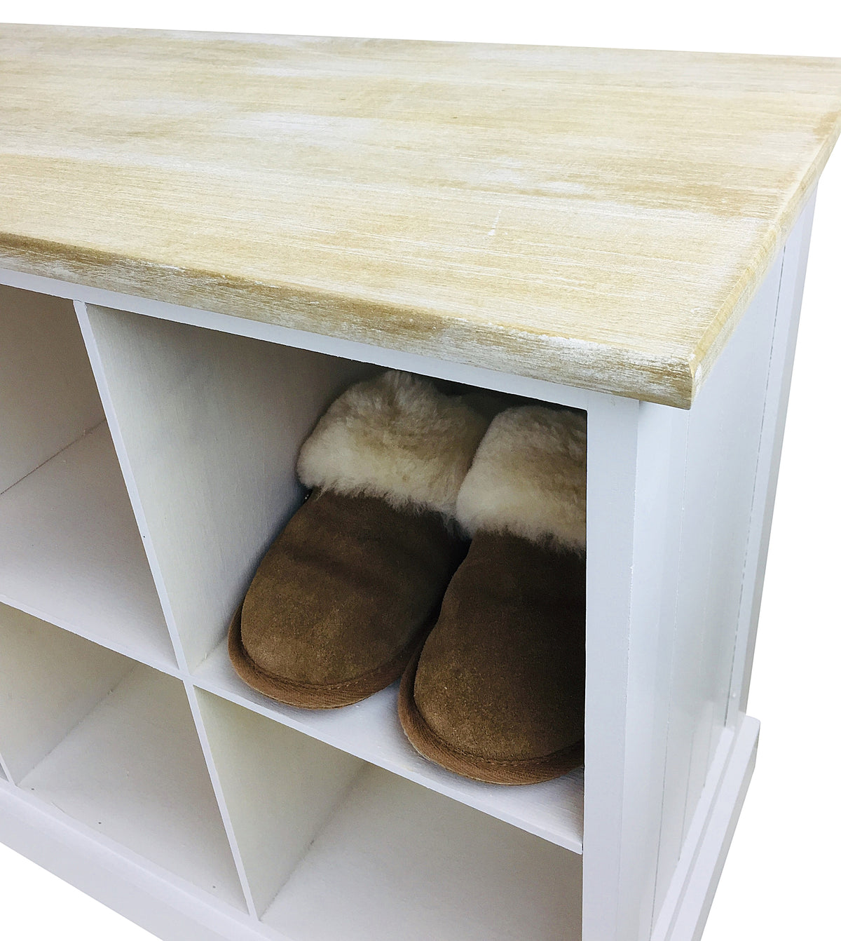 Wooden Bench With 8 Storage Compartments - Seashore No4