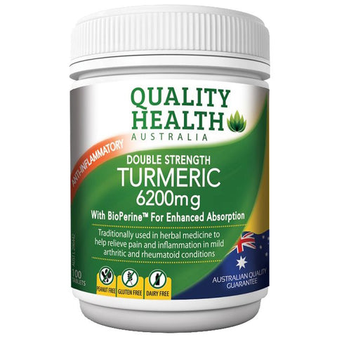 Quality Health Double Strength Turmeric 6200mg 100 Tabs