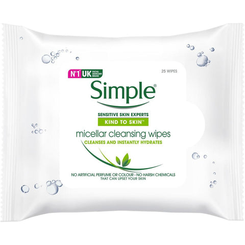 Simple Kind To Skin Facial Wipes Micellar 25 Wipes