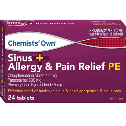 Chemists' Own Sinus, Allergy & Pain Relief PE 24 (Generic of SUDAFED)