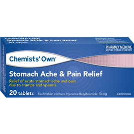 Chemists' Own Stomach Ache & Pain Relief 10 mg 20 Tabs (Generic of BUSCOPAN)