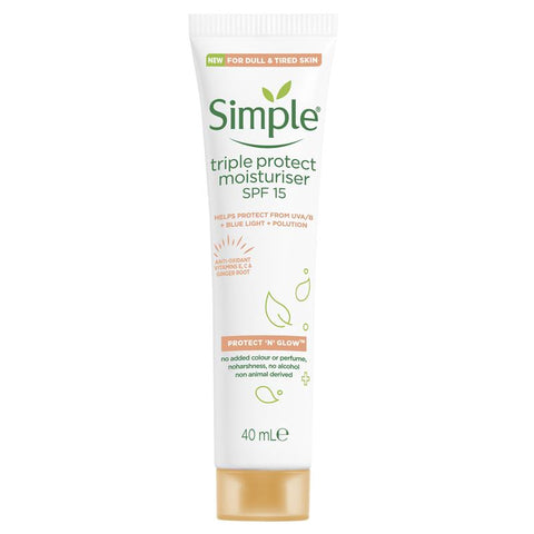 Simple Protect N Glow Triple Protect Moisturiser SPF 15 40ml