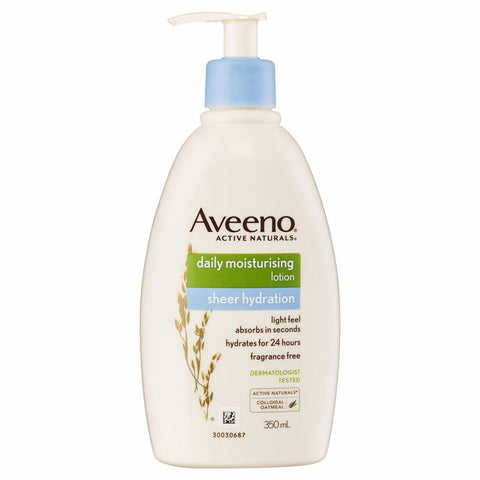 Aveeno Active Naturals Daily Moisturising Sheer Hydration Fragrance Free Lotion 350mL