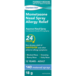 Chemists' Own Mometasone Nasal Spray Allergy Relief 140 Spray (Generic of NASONEX)