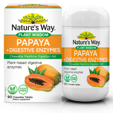 Nature's Way Plant Wisdom Papaya + Digestive Enzyme Chewable 90 Tablets