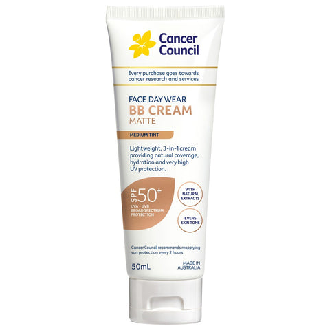 CANCER COUNCIL Face Day Wear BB Cream SPF 50+ Medium Tint 50 mL