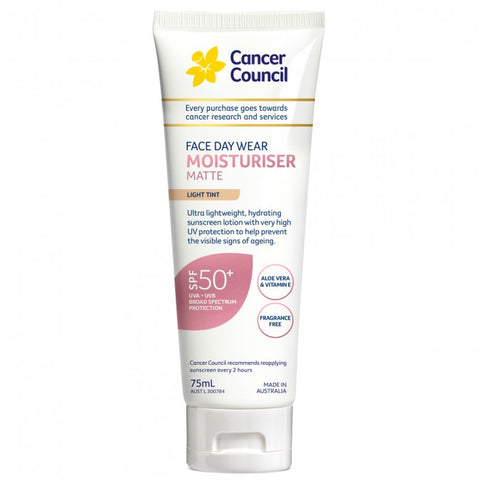 CANCER COUNCIL Face Day Wear Moisturiser Matte SPF 50+ Light Tint 75 mL
