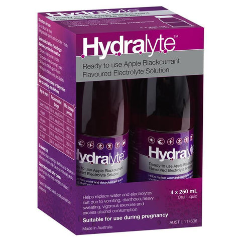 Hydralyte Electrolyte Apple Blackcurrant 4 Pack (4x250ml) Solution