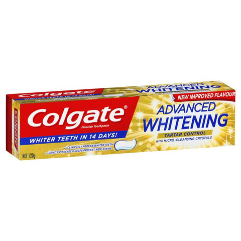 Colgate Advanced Whitening Tartar Control Toothpaste with micro-cleansing crystals 120g